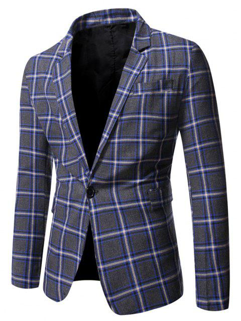 fashion Single Button Slit Plaid Blazer - BLUEBERRY BLUE M Mobile