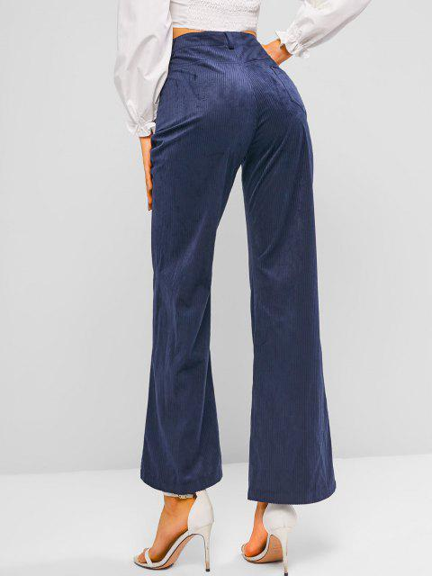 chic ZAFUL High Rise Corduroy Bell Bottom Pants - DEEP BLUE L Mobile