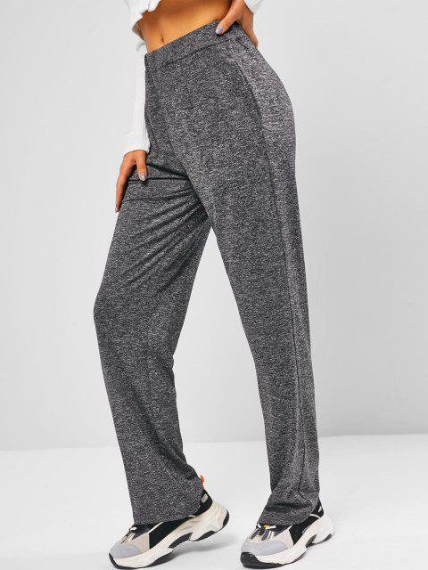 ladies Heather Pocket Wide Leg Pants - GRAY M Mobile