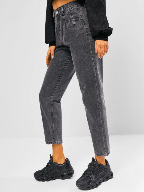 lady High Rise Pocket Zip Fly Mom Jeans - GRAY L Mobile