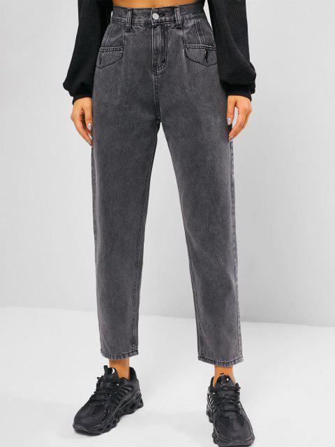 hot High Rise Pocket Zip Fly Mom Jeans - GRAY XL Mobile