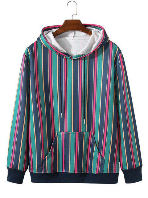 Fleece Lined Colorful Striped Hoody - اللازورد الأزرق 2XL Mobile