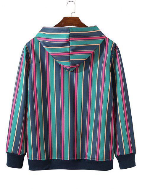 ladies Fleece Lined Colorful Striped Hoody - LAPIS BLUE L Mobile
