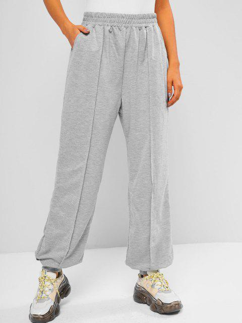 Pantaloni da Jogging a Vita Alta con Tasca - Grigio L Mobile