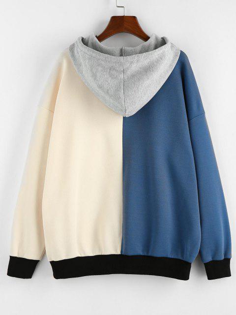 online ZAFUL Oversized Colorblock Hoodie - SILK BLUE XL Mobile