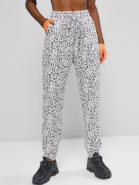 sale Drawstring Leopard Jogger Sweatpants - WHITE L Mobile