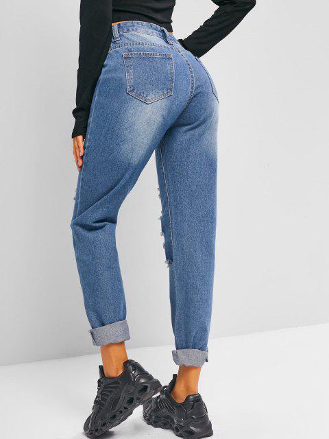 Jeans Rasgado Cintura Alta - Cielo Azul Oscuro S Mobile