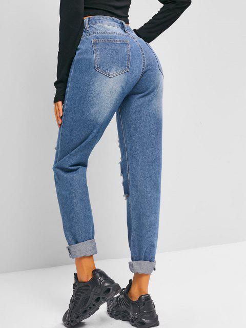 fancy High Waisted Distressed Tapered Jeans - DEEP SKY BLUE M Mobile