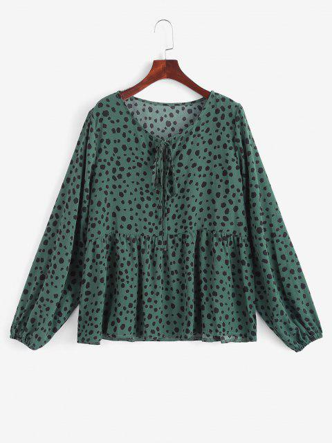 fancy Tie Collar Spotted Print Blouse - DEEP GREEN L Mobile