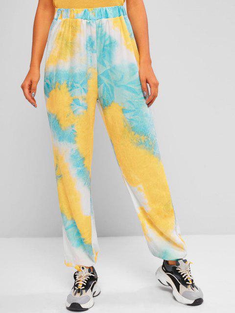 Pantaloni da Jogging Sportivi di Tie-Dye a Vita Alta - Multi Colori M Mobile