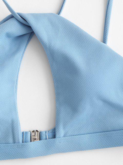 ZAFUL Bikini Recortado con Giro de Textura - Azul Denim S Mobile