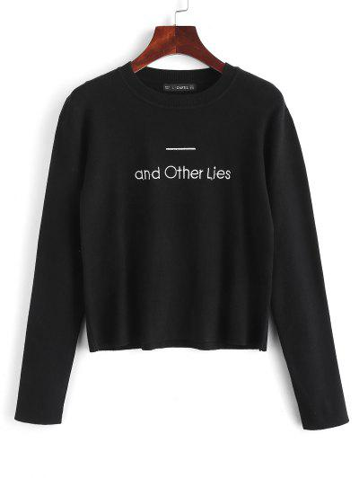 Embroidered Text Graphic Sweater - Black L