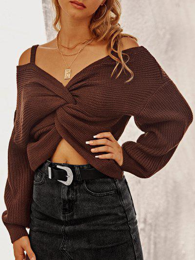 ZAFUL Twisted Cold Shoulder Jumper Sweater - Sepia M