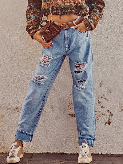 Grunge Light Wash Ripped Cuffed Boyfriend Jeans - Blue S
