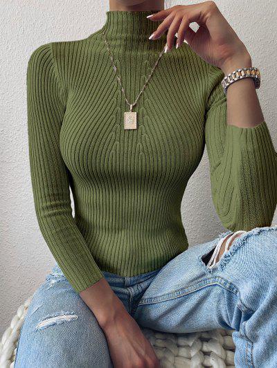 Pullover Mock Neck Plain Slim Sweater - Hazel Green
