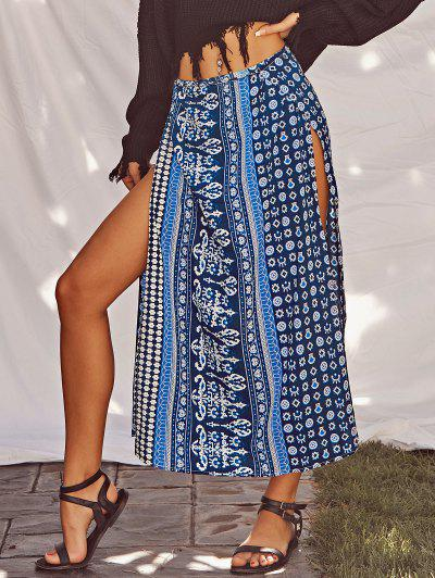 Overlap Slit Bohemian Printed Skirt - Blue M
