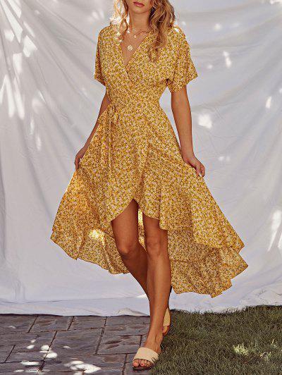 Ditsy Print Ruffle Wrap Dress - Yellow L