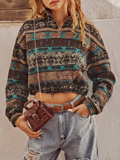 ZAFUL Ethnic Elephant Geo Print Drop Shoulder Quarter Zip Sweatshirt - Multi-a S