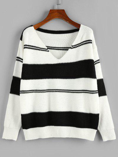 ZAFUL Two Tone Bicolor Striped Drop Shoulder Sweater - Black S