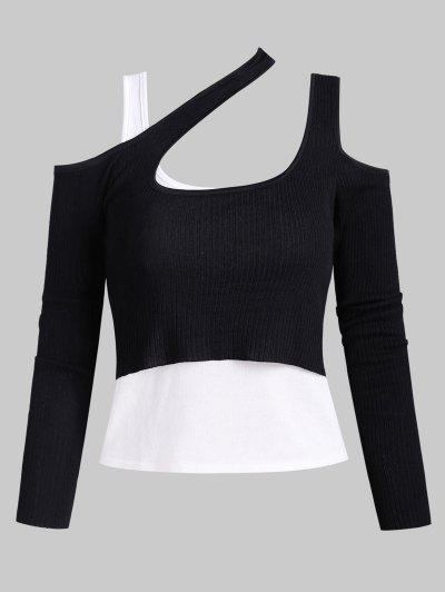 Knitted Cold Shoulder Layered Ribbed Tee - Black
