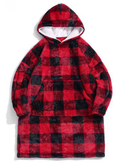 ZAFUL Plaid Pattern Fluffy Long Blanket Hoodie - Red S