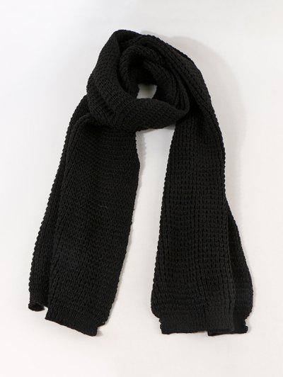 Leather Panel Long Knitted Scarf - Black