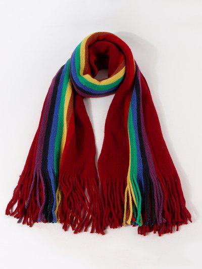 Regenbogen Farbe Streifen Gestrickter Schal - Roter Wein