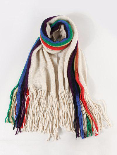 Rainbow Color Stripe Knitted Fringe Scarf - Beige