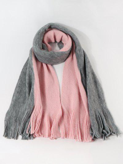 Colorblock Fringe Faux Cashmere Scarf - Light Pink