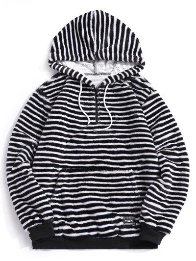 Quarter Zip Striped Faux Fur Fluffy Hoodie - Black Xl