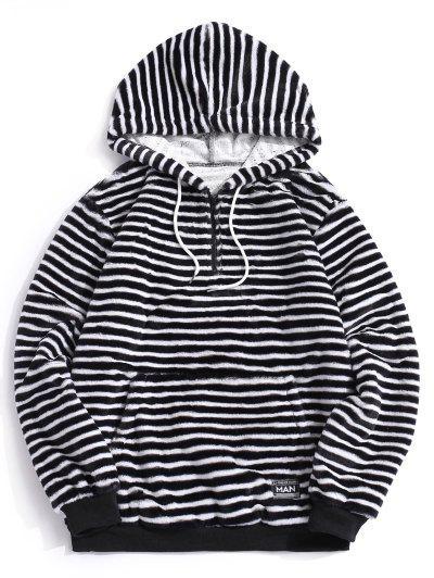 Quarter Zip Striped Faux Fur Fluffy Hoodie - Black M