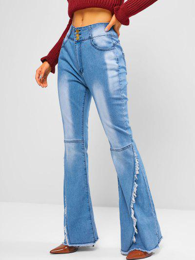 High Waisted Frayed Overlap Flare Jeans - Blue M