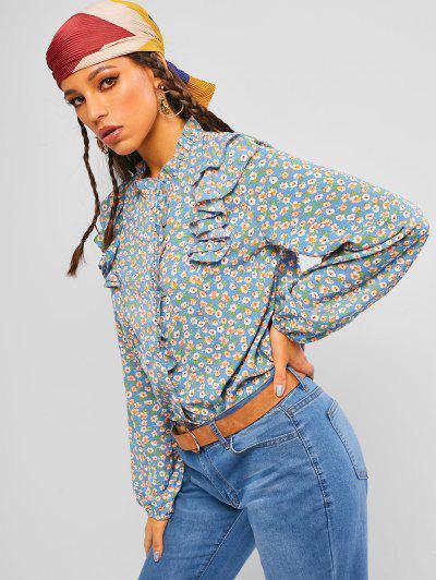 ZAFUL Ditsy Print Ruffle Shirt - Light Blue M