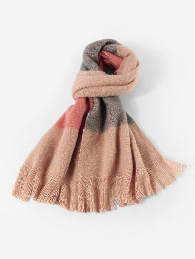 Winter Faux Cashmere Colorblock Fringe Scarf - Light Pink