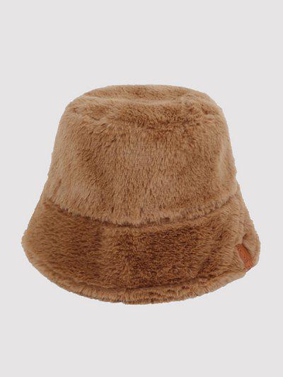 Faux Blana Din Piele Label Bucket Hat - Lumina Kaki