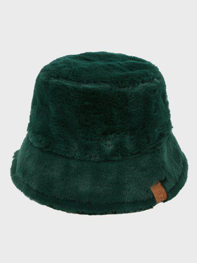 Faux Fur Leather Label Bucket Hat - Seaweed Green