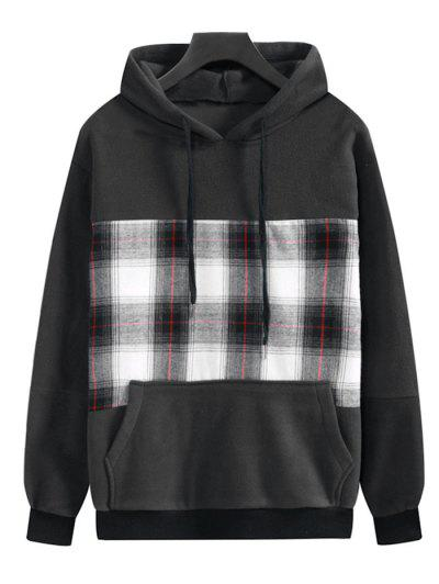 Plaid Patchwork Front Pocket Fleece Hoodie - Dark Slate Grey 2xl