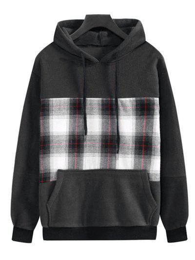 Plaid Patchwork Front Pocket Fleece Hoodie - Dark Slate Grey M