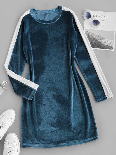 Contrast Two Tone Velvet Bodycon Long Sleeve Dress - Blue S