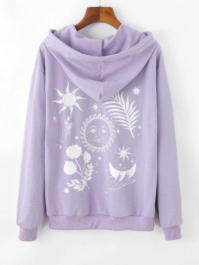 Moon And Flower Pattern Drop Shoulder Hoodie - Light Purple M