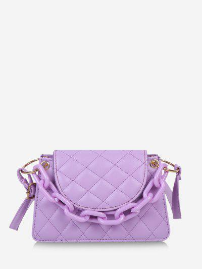 Rhombus Pattern Solid Quilted Crossbody Bag - Light Purple