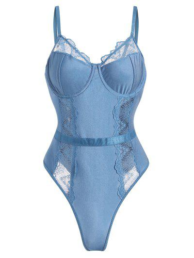 Underwire Scalloped Lace Panel Lingerie Teddy - Light Blue M