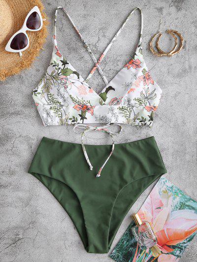 ZAFUL Plant Print Crisscross Surplice Tankini Swimwear - Medium Sea Green L