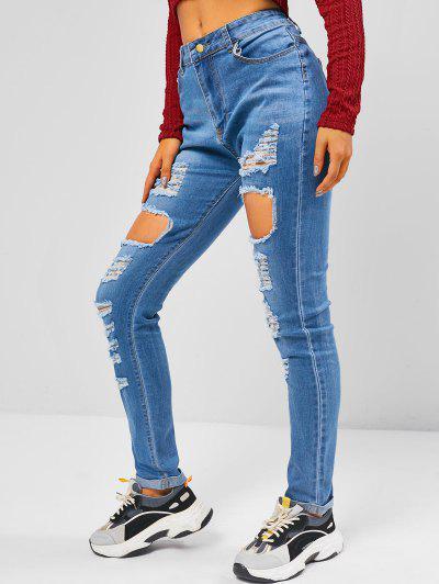 Destroyed Cuff Hem Skinny Jeans - Blue L