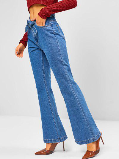 Medium Wash Belted High Waisted Flare Jeans - Blue S