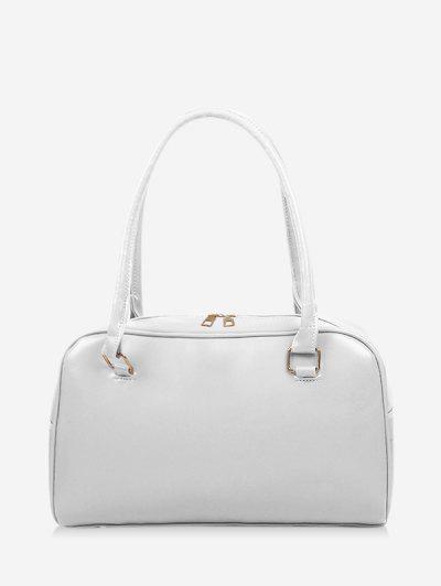Brief Solid PU Shoulder Bag - White