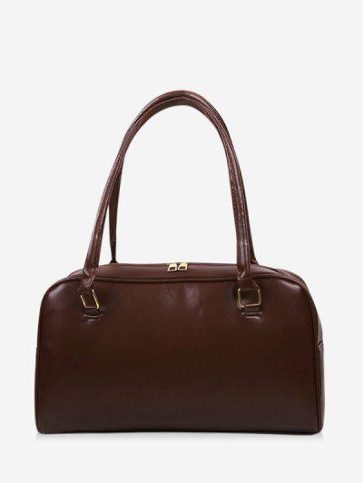 Brief Solid PU Shoulder Bag - Deep Coffee