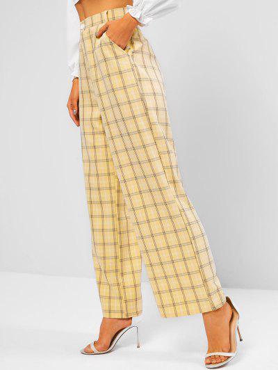 Slant Pockets Checked Wide Leg Pants - Yellow L