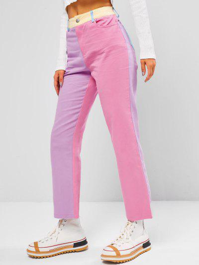 Colorblock Pocket High Waisted Straight Pants - Multi S
