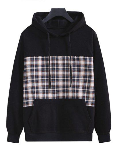 Plaid Patchwork Panel Fleece Hoodie - Black M